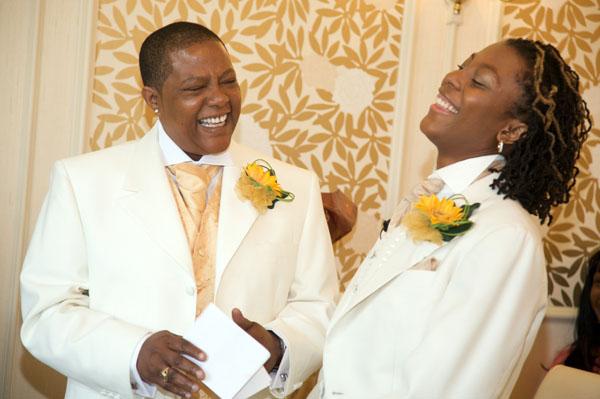 lesbian wedding happy laughing