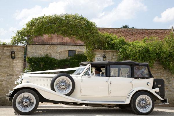 wedding car outside church