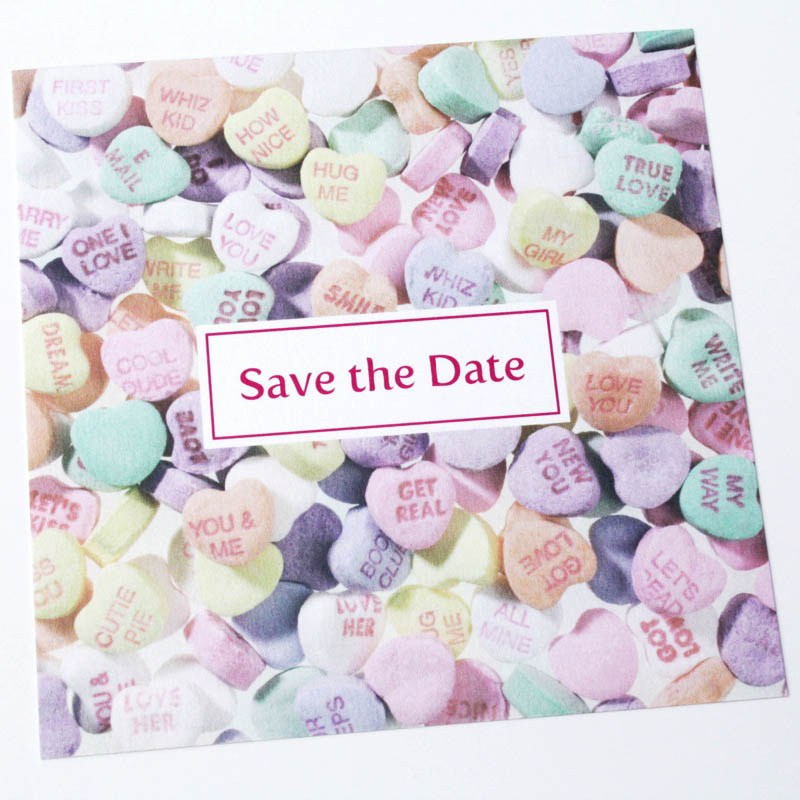 candy hearts wedding card