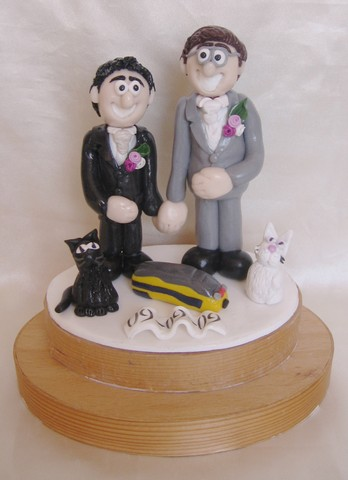 gay wedding cake topper two men and cat