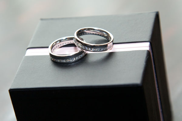 gay wedding rings on box