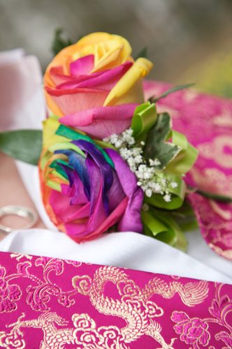 gay wedding rainbow flowers