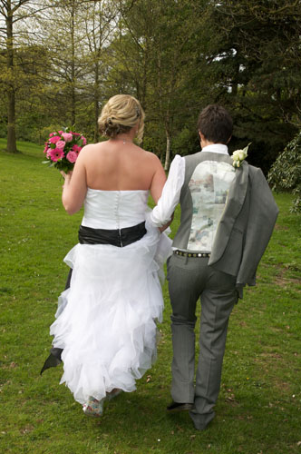 two lesbians just married in suit and dress