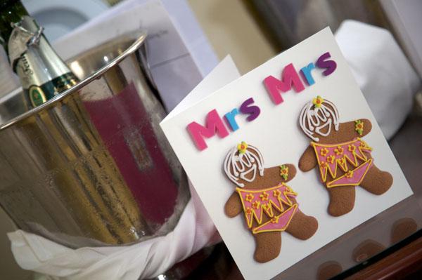 lesbian wedding card gingerbread women